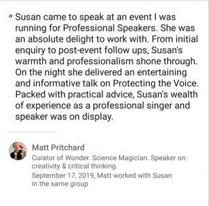 Vocal health, trainers, speakers, Susan Heaton-Wright, Superstar Communicator