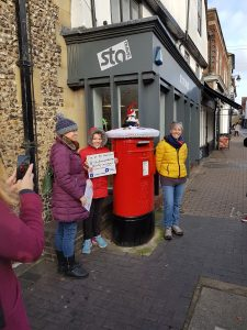 The first Postbox Topper is revealed in St Albans
